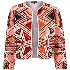 Topshop geo embroidered jacquard jacket